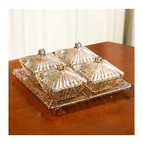 HATHOR-23 Fruit Basket Glass Fruit Plate With Lid Fruit Dish Nut Fruit Tray Comport Crystal (color : Brass)