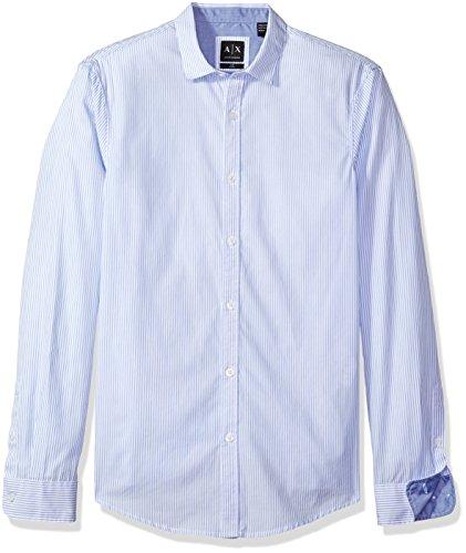 A|X Armani Exchange Men's Poplin Long Sleeve Button up Woven, LT Blue Thin Stripe,
