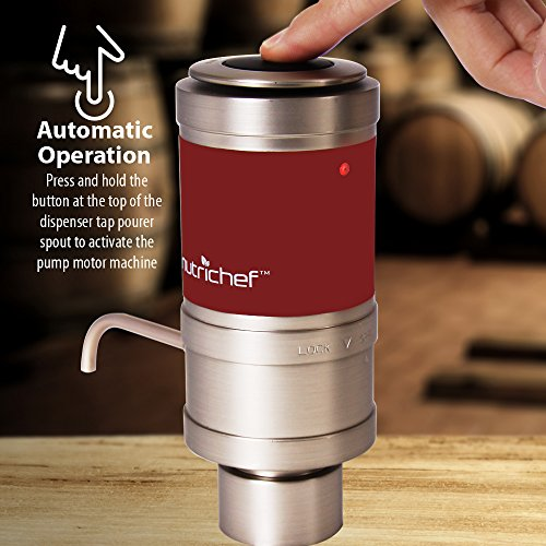 Electric Wine Aerator Dispenser Pump - Portable and Automatic Bottle Breather Tap Machine - Air Decanter Diffuser System for Red and White Wine w/Unique Metal Pourer Spout - NutriChef PSLWPMP50 by NutriChef (Image #6)
