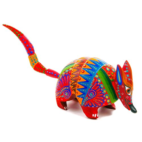 RED ARMADILLO Handcrafted Oaxacan Alebrije Wood Carving Mexican Folk Art Sculpture Painting