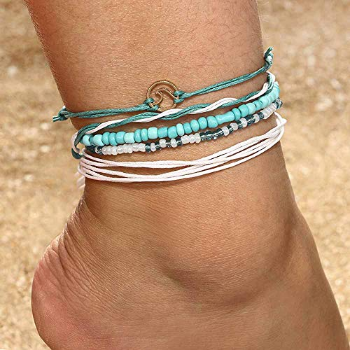 (Jovono Blue Beaded Wave Anklets White Rope Anklet Bracelets Fashion Beach Foot Jewelry for Women and Girls)