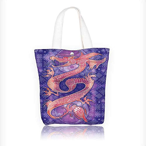 Canvas Tote Bag Collection Chinese Dragon Figure with Ying Yang Signs Ethnic Patterns Asian Arts Meditation Hanbag Women Shoulder Bag Fashion Tote Bag W16.5xH14xD7 INCH by Muyindo