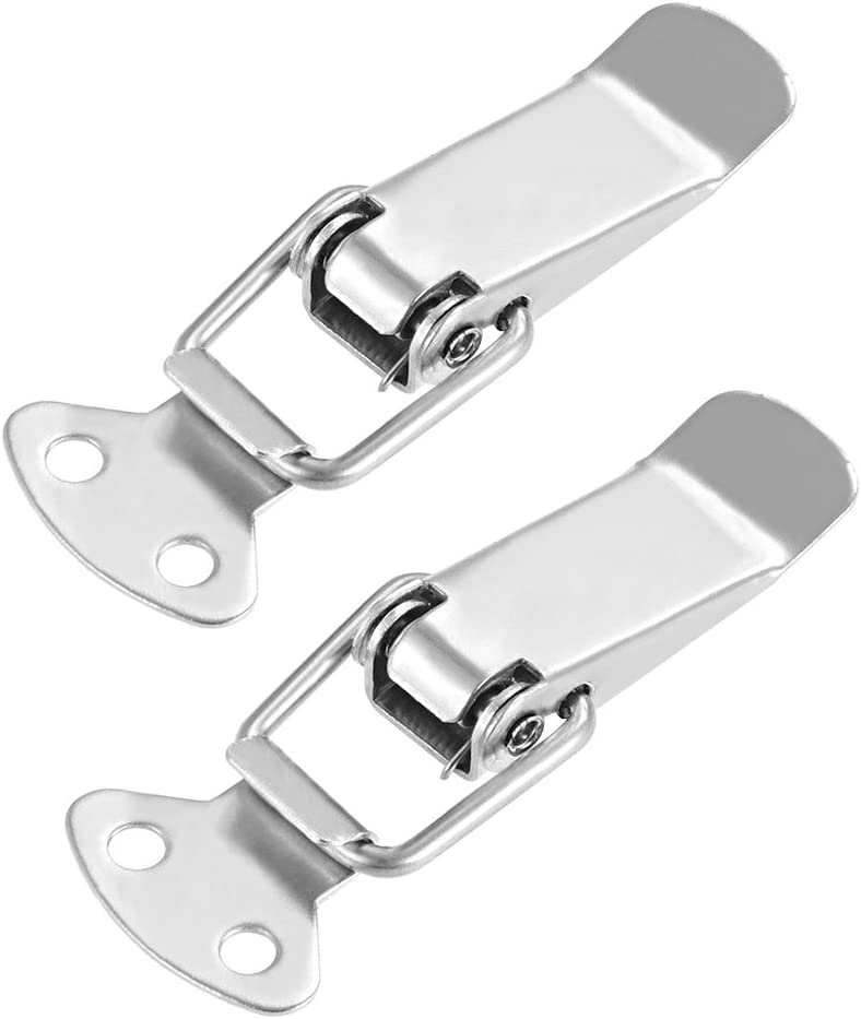 Pack of 2 90mm Length Stainless Steel 304 Hasps Clamps for Case Box Trunk Catches uxcell Spring Loaded Toggle Latches with Lock Hole