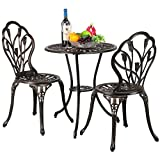 Cheap Yaheetech 3 Piece Bronze Patio Set Outdoor Patio Furniture Tulip Design Setting Cast Bistro Table Chair, Aluminum