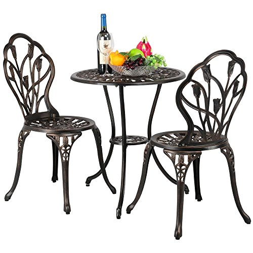 Yaheetech 3 Piece Bronze Patio Set Outdoor Patio Furniture Tulip Design Setting Cast Bistro Table Chair, ()