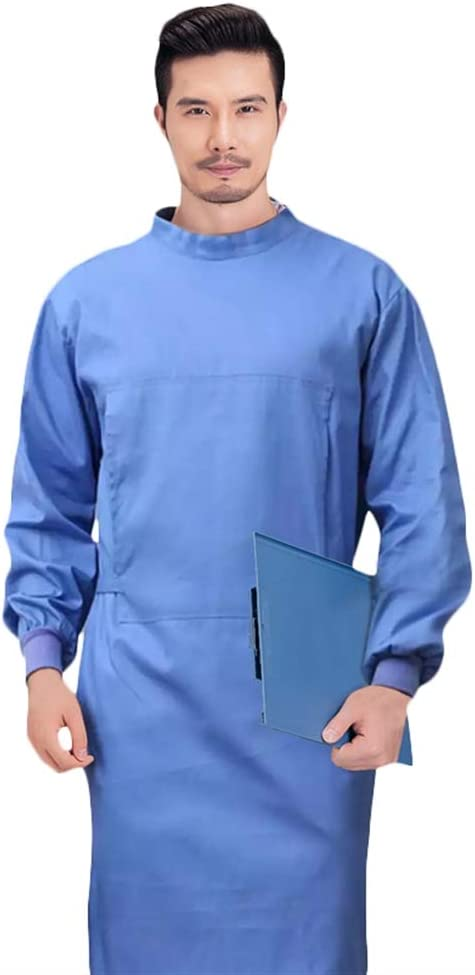 Icegrey Medical Washable Isolation Gown,Surgical Gown,Cotton Protective Coats with Long sleeves,White-Men,S