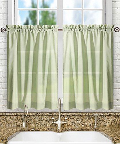 Green Kitchen Curtain - Ellis Curtain Stacey Tailored Tier Pair Curtains, 56