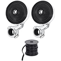 Package: Pair of Kicker 40PSM34 PSM3 Waterproof Motorcycle and ATV Handlebar Speakers + Rockville R14G50MS-BL 50 Foot Mini Spool Marine Waterproof 14 AWG Professional Speaker Wire