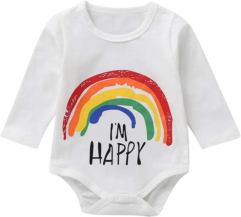 MAYOGO Invierno Niña Manga Larga Mameluco Carta Estampado Arcoiris Camiseta para Recién Nacido Bebé Niñas 3 a 6 Meses Mono de bebé Niña Pelele Fiesta Ropa Bebé Dulces Hija Pijama 0-2 Años: