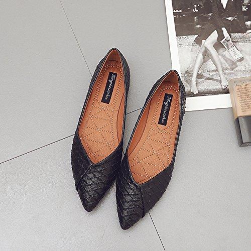 Xue Qiqi Court Schuhe Spitz Flache Schuhe Flacher Mund flach flach flach mit einzelnen Schuhen Damen Vier Schuhe Casual Schuhe Low-Heels 38 schwarz dc38fa