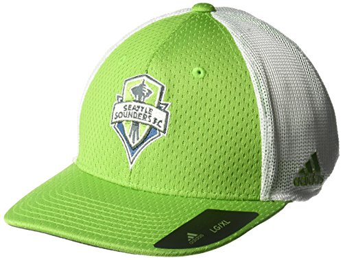 adidas MLS Seattle Sounders FC Adult Men Meshback Structured Flex, Large/X-Large, Green