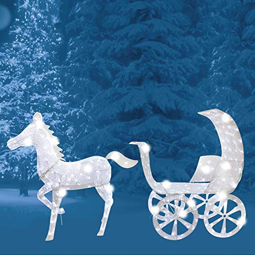 Brite Star Horse and Carriage Lights, Pure White (And Christmas Lights Horse Carriage)