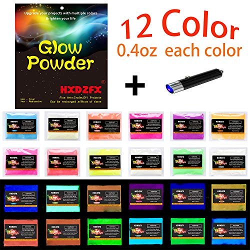 HXDZFX Glow in The Dark Pigment Powder Luminous Powder(Set of 12 Packs 0.4oz Each) Safe Non-Toxic,for Slime,Nails,Epoxy Resin,Acrylic Paint,Halloween,Fine Art and DIY Crafts ()