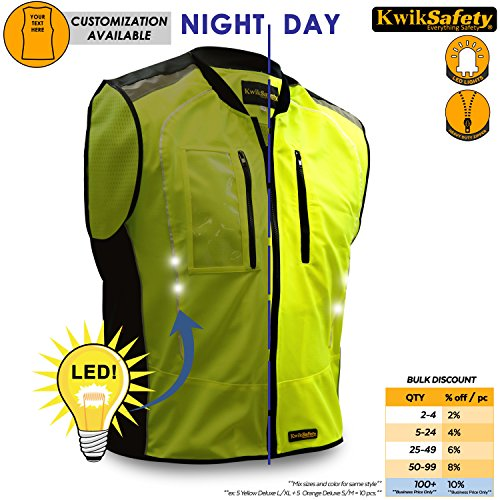 Hi Vis Zipper Vest (KwikSafety ZOOM | Men All Year Racing LED Motorcycle Vest | Hi Vis Luminous LED Light Strips | High Performance Recreational Sport Athletic Wear | Street Riding Motorsport Sleeveless Jacket | 2XL/3XL)