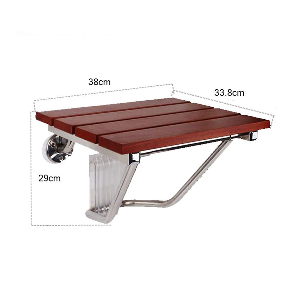 MMHJJ-Bath chair Wall-Mounted Folding Shower Seat Bench Bathroom Stool Sturdy Wide Seat for Bathroom and Household Use Wooden Waterproof by MMHJJ-Bath chair (Image #2)