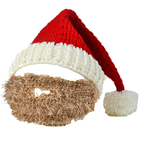LBZE Unisex Christmas Winter Knit Crochet Beanie Santa Hat Foldaway Beard Caps