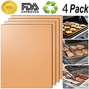 Smaid - Gold Grill Mat Set of 4 - 100% Non-stick BBQ Grill Mats - FDA-Approved, PFOA Free, Reusable and Easy to Clean - Works on Gas , Charcoal , Electric Grill and More - 15.75 x 13 Inch