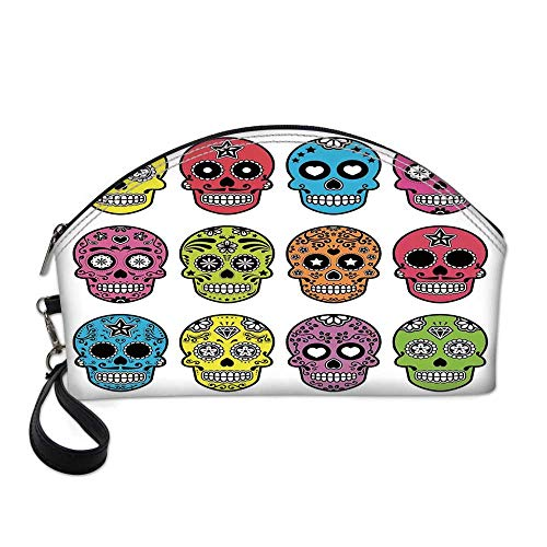 Skull Small Portable Cosmetic Bag,Ornate Colorful Traditional Mexian Halloween Skull Icons Dead Humor Folk Art Print For Women,One size