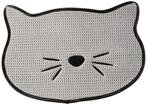 Bone Dry Embroidered Microfiber Cat Shape Pet Food & Water Placemat-Gray (Renewed)