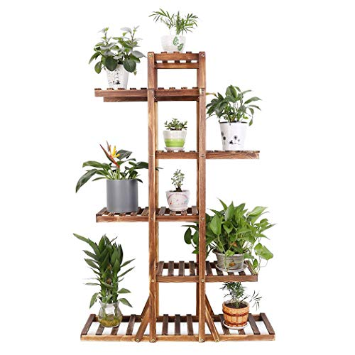 6 Tier Wooden Plant Stand Carbonized Wood Plant Stand Holder Flower Display Stand Flower Pot Rack Bonsai Display Bench Patio Shelf Porch Dining Room Living Room Bathroom Indoor Outdoor, 52 inches