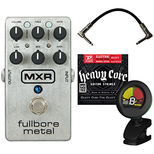 MXR M116 Fullbore Metal Distortion Pedal w/ Patch Cable, Tuner, and Strings (Pedal Tuner Cable Strings)