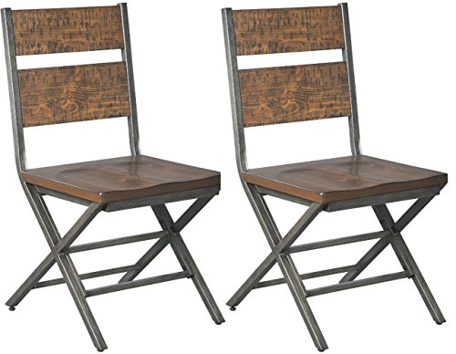 Leather Oak Folding Chair - Ashley Furniture Signature Design - Kavara Dining Room Chair - Medium Brown