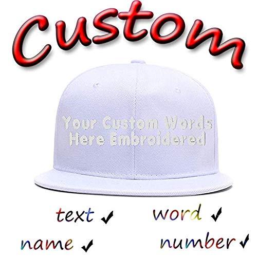(Funny Baseball Hats Unisex Cotton Hip Hop Flat Brim Snapback Hats Custom Embroidered Caps White)