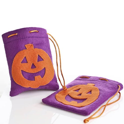 Package of 24 Small Purple Felt Treat Drawstring Halloween Goody Bags with Orange Jack O Lantern Frontsfor Parties, Favors and Gifting