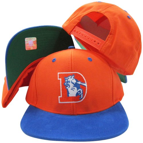 Denver Broncos Orange/Blue Two Tone Plastic Snapback Adjustable Plastic Snap Back Hat / - Reebok Hat Football