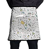 OGYSFS Science Medical Seamless Pattern Bib Apron Waist Apron Half Bistro Apron With Pockets For Men And Women