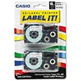 Casio Tape Cassettes for KL Label Makers, 18mm x 26ft, Black on White, 2/Pack XR-18WE2S