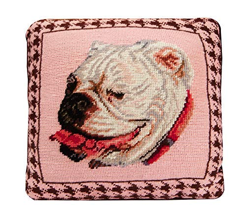 Bulldog Needlepoint Pillow, Square Wool, Handcrafted Cushion Throw Pillow [並行輸入品] B07RBD4RN1