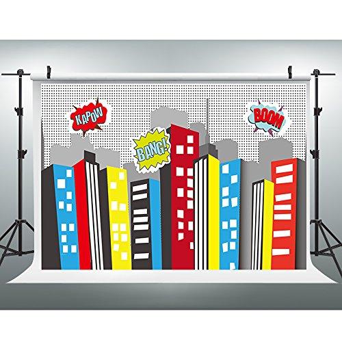 Maijoeyy 7x5ft Cartoon City Photography Backdrops Colorful Building Backdrop for Superhero Photo Studio Background (Superhero Buildings)