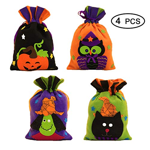 4 Pack Halloween Pumpkin Candy Bags, Trick or Treat Halloween Bags, Halloween Decorations Party Bags, Halloween Candy Bags.