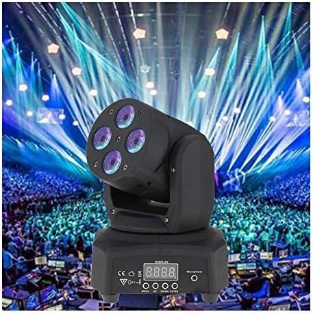 ステージライト チャンネルDMX512屋内ディスコKTVクラブパーティーのためのサウンドは、activeated 14/16ヘッドステージエフェクトライトを移動するミニ4のLED 50W RGBWウォッシュ回転 投影ライト (Color : Black)