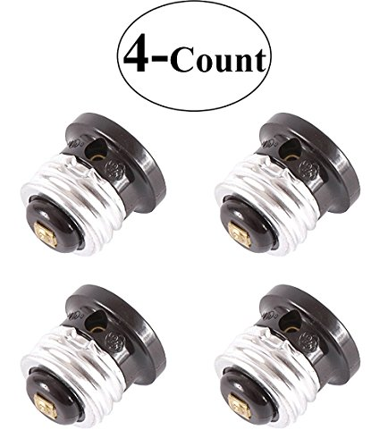 Value 4-Pack, GE 54276 Polarized Handy (Light Bulb Socket) Outlet, Black - 4-Units Four Unit