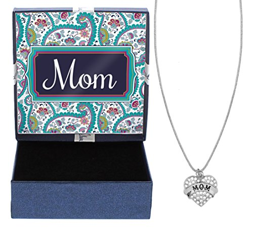 (Mom Silver-Tone Crystal Adorned Heart Shaped Charm Cable Chain Necklace Paisley Gift Box Birthday Gifts Mom Necklace Mom Jewelry)
