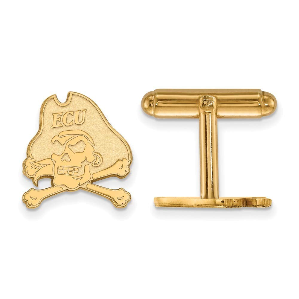 Roy Rose Jewelry Sterling Silver with 14K Yellow Gold-plated LogoArt East Carolina University Cuff Links