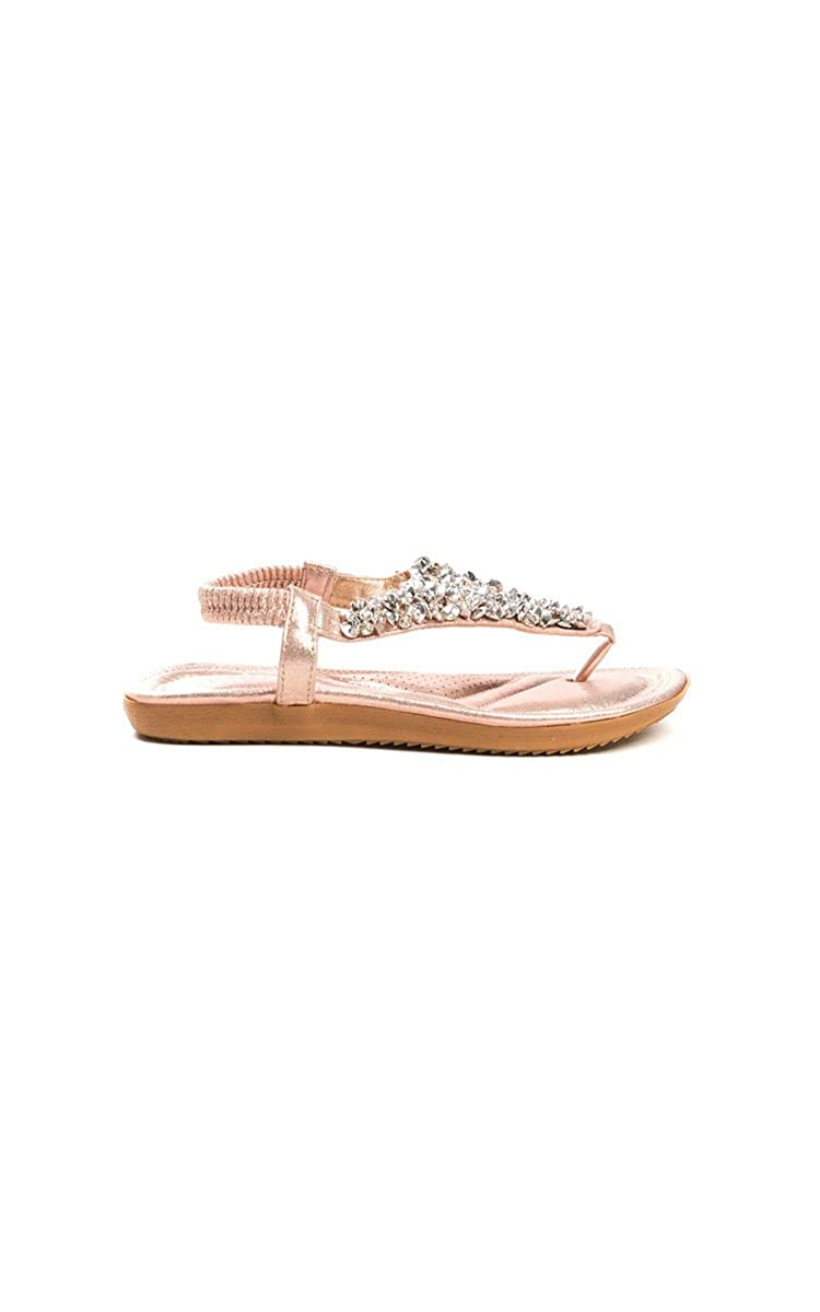 1e2d4613d23b54 Ikrush Womens Monika Clustered Sequin Embellished Sandals Rose Gold   Amazon.co.uk  Shoes   Bags