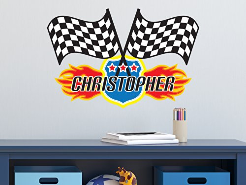 Race Flags with Custom Name Fabric Wall Decal - NASCAR Inspi