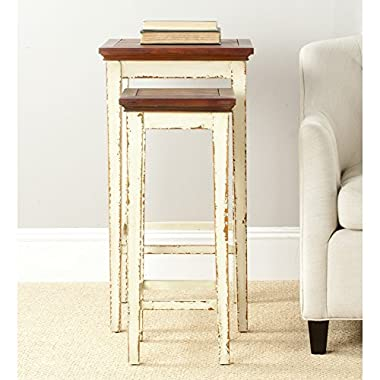 Safavieh American Home Collection Ryde Antiqued White and Dark Brown Nesting Tables, Set of 2