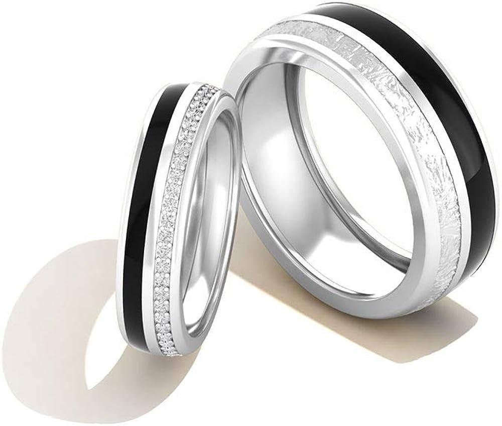 Juego de anillos de boda con certificado IGI de 0,33 diamantes, esmaltado negro, juego de anillos a juego, IJ-SI, claridad de color, anillo de eternidad, 18K Oro