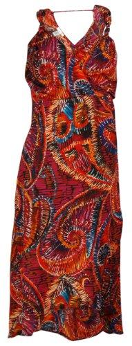 Wrap Style Printed Beach Dress (12, Black/Purple)