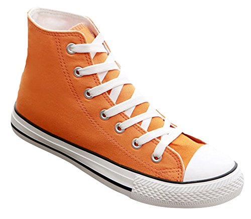 Ace Women's Teens Casual Flat High-top Laced-up Canvas Shoes Fashion Sneakers (7.5, orange)