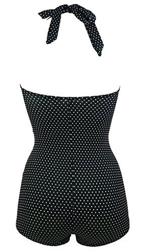 Sarah Dean 50s Retro Polka Dot Black Navy Blue Vintage One Piece Monokinis Halter Swimsuit