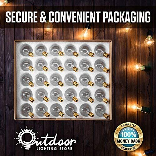 50ft Black String Lights, 60 G40 Globe Bulbs (10 Extra): Connectable, Waterproof, Indoor/Outdoor Globe String Lights for Patios, Parties, Weddings, Backyards, Porches, Gazebos, Pergolas & More by Outdoor Lighting Store (Image #7)
