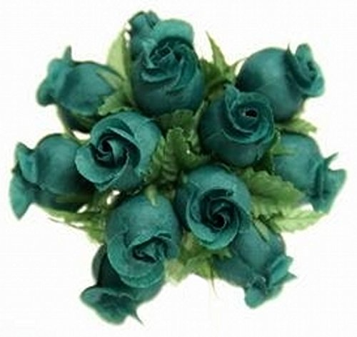 (144 Poly Rose Silk Favor Flower Pick Wedding Shower - Hunter)