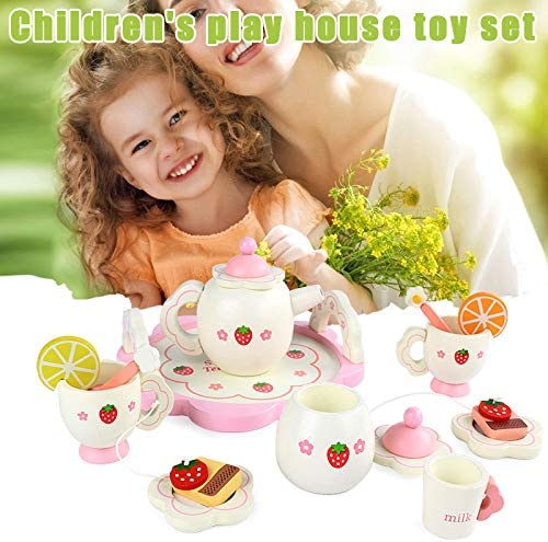 Debuy Wooden Mini Tea Set Toy Cup Teapots Tray for Children Kids Kitchen Role Playing Game