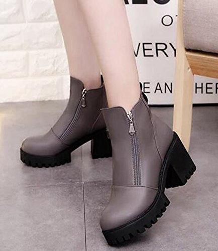IDIFU Womens Trendy High Chunky Heels Platform Side Zipper Ankle Boots Gray 3NWgVj