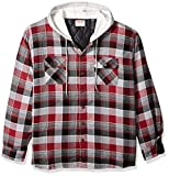 Wrangler Authentics Men's Long Sleeve Quilted Lined Flannel Shirt Jacket with Hood, Biking Red with Gray, XX-Large